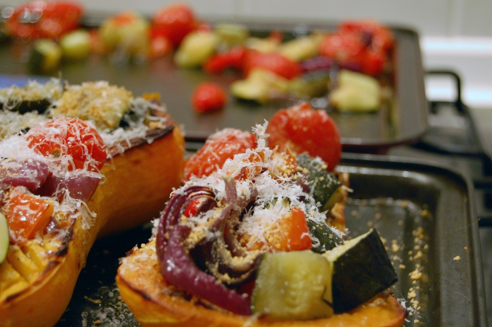 Squash with roasted veg and goats cheese 2