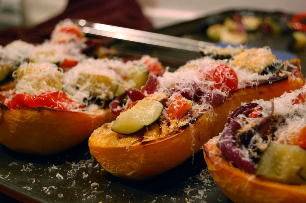 Squash with roasted veg and goats cheese 1
